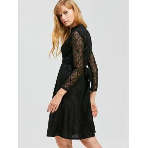 Stand Collar Lace Knee Length Dress - BLACK M