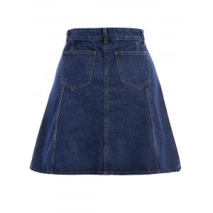 Knee Length Jean Skirt - BLUE M