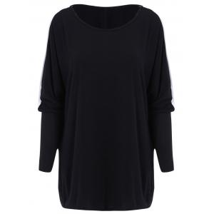 Color Block Loose-Fitting Style Bat-Wing Sleeves Scoop Neck Women's T-shirt - Black - One Size