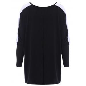 Color Block Loose-Fitting Style Bat-Wing Sleeves Scoop Neck Women's T-shirt -