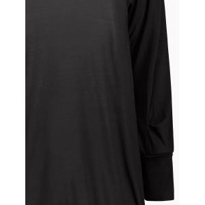 Long Sleeve Short Tunic T-shirt Dress - BLACK S