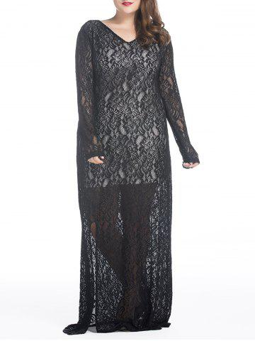 Plus Size Maxi Lace Long Sleeve Sheer Dress - Black - 3xl