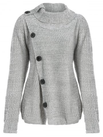 Fancy High Neck Asymmetrical Cardigan - XL GRAY Mobile