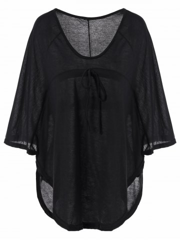 Online Plunging Neckline Plain Loose-Fitting Half Sleeve T-Shirt BLACK M