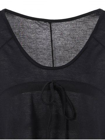 Best Plunging Neckline Plain Loose-Fitting Half Sleeve T-Shirt - XL BLACK Mobile