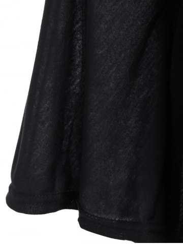 Outfit Plunging Neckline Plain Loose-Fitting Half Sleeve T-Shirt - 2XL BLACK Mobile