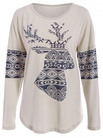 Outfits Casual Scoop Neck Long Sleeve Elk Printed Christmas T-Shirt For Women
