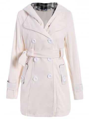 Stylish Hooded Double-Breasted Long Sleeve Worsted Coat For Women - Off-white - L