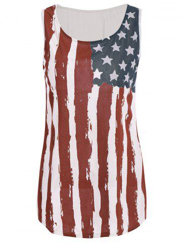 Buy Patriotic USA Flag Print Tank Top COLORMIX L