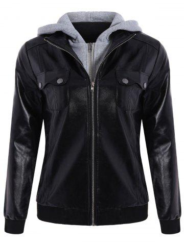 Store Fashionable Hooded Pocket Design Black Faux Leather Jacket For Women