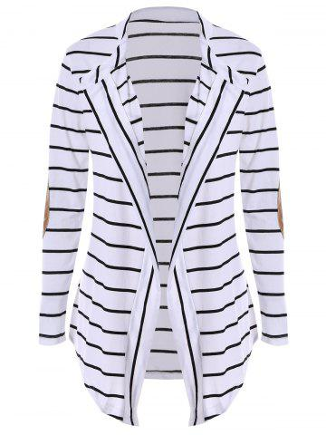 Shop Chic Collarless Long Sleeve Spliced Striped Women's Cardigan WHITE M