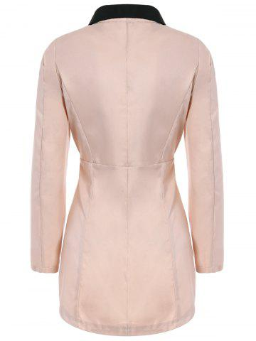 Fashion Ladylike Style Long Sleeves Irregular Solid Color Single-Breasted Women's Coat - ONE SIZE PINK Mobile