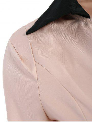 Affordable Ladylike Style Long Sleeves Irregular Solid Color Single-Breasted Women's Coat - ONE SIZE PINK Mobile
