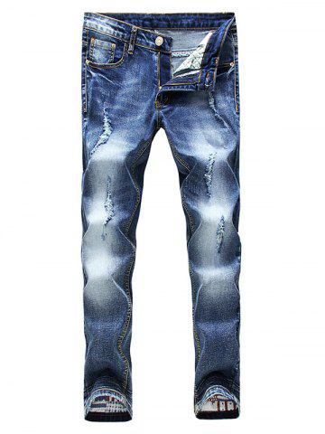 Hot Zip Fly Faded Distressed Jeans