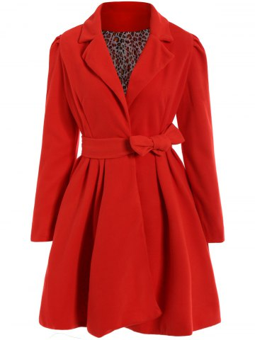 Fancy Noble Turn-Down Collar Long Sleeve Pure Color Self Tie Belt Women's Coat Dress - L RED Mobile