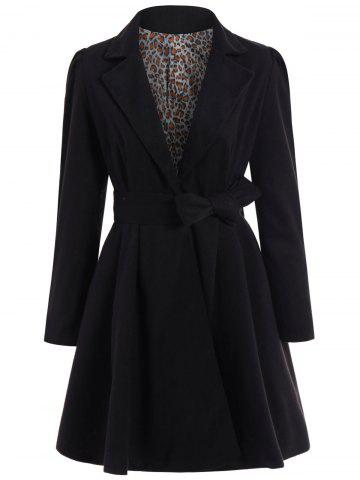 Latest Noble Turn-Down Collar Long Sleeve Pure Color Self Tie Belt Women's Coat Dress