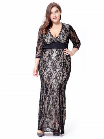 Empire Waist Plus Size Lace Bodycon Dress With SLeeves - Black - Xl