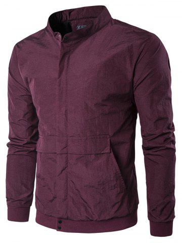 Trendy Pocket Rib Insert Stand Collar Jacket - 2XL WINE RED Mobile