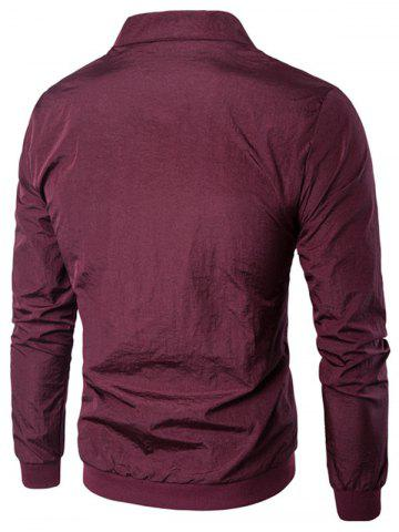 Cheap Pocket Rib Insert Stand Collar Jacket - 2XL WINE RED Mobile