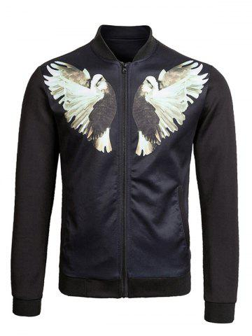 New Zip Up Dove Print Bomber Jacket BLACK 2XL