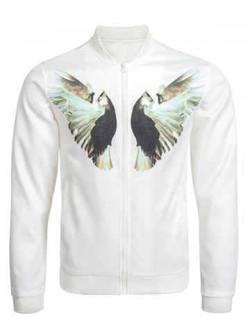Chic Zip Up Dove Print Bomber Jacket WHITE 3XL