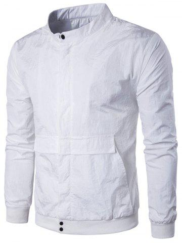 Sale Pocket Rib Insert Stand Collar Jacket - 2XL WHITE Mobile
