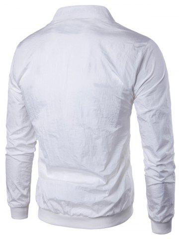 Online Pocket Rib Insert Stand Collar Jacket - 2XL WHITE Mobile
