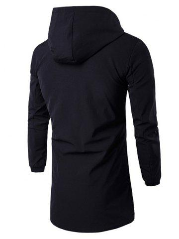 Latest Hooded Rib Cuff Letter Zip Up Coat - 2XL BLACK Mobile