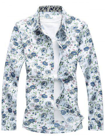 Buy Long Sleeve Buttoned Floral Printed Shirt - White 3XL