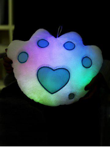 Fancy Bear Paw Shape Variable Color Luminescence Pillow - WHITE  Mobile