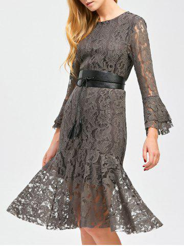 Best Flare Sleeve Sheer Lace Mermaid Prom Dress GRAY XL
