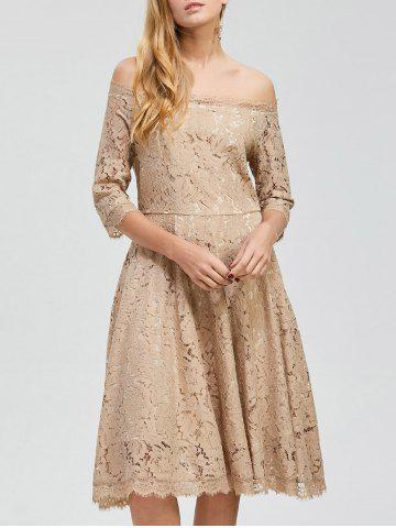 Cheap Party Off Shoulder Lace A Line Swing Dress - 2XL KHAKI Mobile
