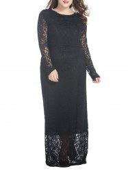 Plus Size Floral Lace Maxi Dress -