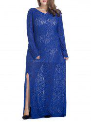 Plus Size Maxi Lace Long Sleeve Sheer Dress -