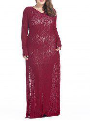Plus Size Lace Slit Formal Dress with Sleeves
