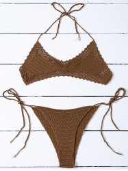 Crochet High-Cut Halter Skimpy Bikini Set