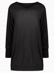 Stylish Plunging Neck Long Sleeve Solid Color Pocket Design Women's Dress - BLACK