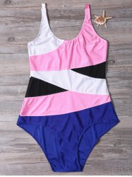 Brief Stripe Color Block Swimsuit For Women