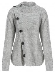 High Neck Asymmetrical Cardigan - GRAY