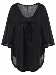 Plunging Neckline Plain Loose-Fitting Half Sleeve T-Shirt - BLACK