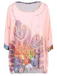 Plus Size Scoop Neck Dolman Sleeve Women's Casual Blouse - PINK