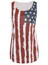 Stylish Scoop Neck Sleeveless Flag Print Women's Tank Top - COLORMIX
