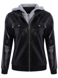 Fashionable Hooded Pocket Design Black Faux Leather Jacket For Women - BLACK