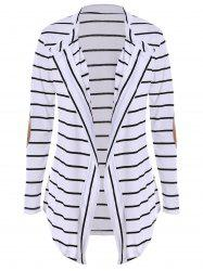 Chic Collarless Long Sleeve Spliced Striped Women's Cardigan - WHITE