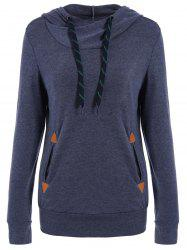 Drawstring Pocket Design Embroidered Hoodie -