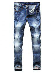 Zip Fly Faded Distressed Jeans -