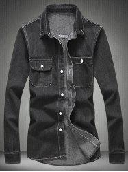 Long Sleeve Pocket Denim Shirt