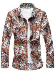 Long Sleeve Buttoned Floral Shirt