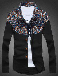 Tribal Paisley Print Panel Long Sleeve Linen Shirt