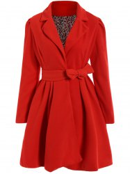 Noble Turn-Down Collar Long Sleeve Pure Color Self Tie Belt Women's Coat Dress - RED